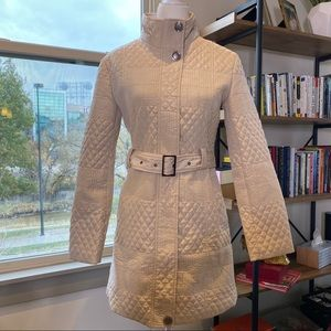 MaxMara Cream Belted Quilted Trench Coat Size L